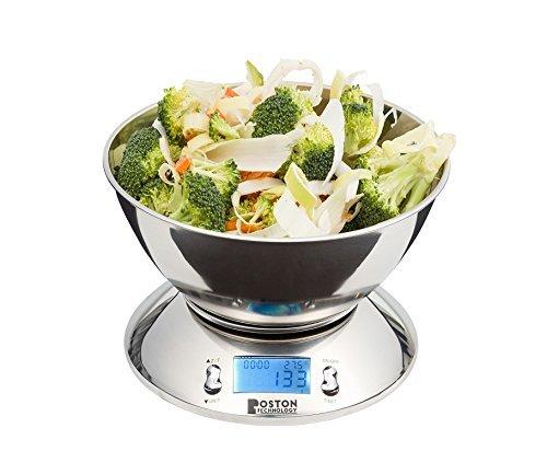 Boston Tech HK101 - Báscula de cocina digital, Balanza electrónica con reloj temporizador, pantalla LCD, función TARA y temperatura. Bol Incluido