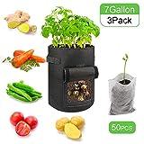 Maylove Kartoffel Wachsen Taschen, 3 Pack wachsen Tasche/Belüftung Stoff Töpfe Pflanzentaschen mit Griffen,Garten Gemüse Zuchtbeutel Tasche Pflanzentopf mit Klappe