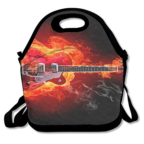 Flaming Fire Guitar Music Notes Convenient Lunch Bags Tote For Travel School Picnic Grocery Bags Outdoor Picnic Bag