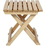 SKA Foldable Light Weight Square Design with Stripe Pattern Small Size Table in Natural Wood Finish