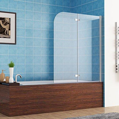 faltbare duschwand fuer badewanne MIQU 120 x 140 cm Badewannen 2 TLG. Faltwand Aufsatz 180° Duschwand Duschabtrennung Nano Glas