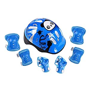 Finer Shop Butterfly Elbow Wrist Knee Pads and Panda Helmet Sport Safety Protective Gear Guard Set of 7pcs