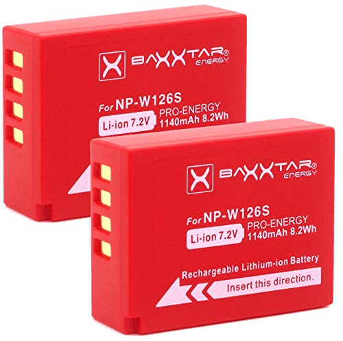 Baxxtar Pro   2X Batería Compatible Fujifilm NP W126s