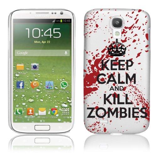 Samsung Galaxy S4 IV i9500 Hülle Hardcase (Harte Rückseite) Cover - Keep Calm and Kill Zombies Muster Schutzhülle für Samsung Galaxy S4 - Weiß und Rot