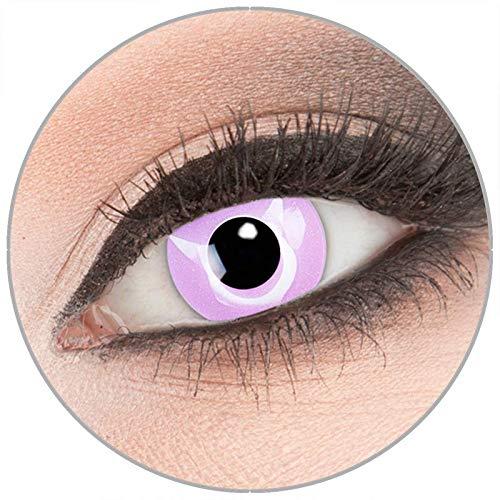 Farbige 'Geass' Kontaktlinsen von 'Evil Lens' zu Fasching Karneval Halloween 1 Paar rosaviolette Crazy Fun Kontaktlinsen mit Behälter in Topqualität ohne Stärke