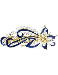 clip a cheveux - SODIAL(R)Bleu fonce strass incrustes Barrette floral clip a cheveux francais