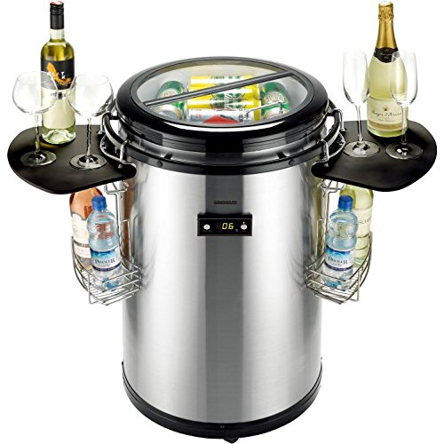 Gino Gelati Party Kühlschrank Edelstahl mit Schwarz, Kühlbox, Getränkekühlschrank