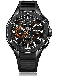Megir Hombres 'ssub-dail Militar deportes relojes cronógrafo analógico de cuarzo reloj de pulsera para hombre m2053black