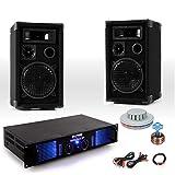 PA Party Kompakt Musikanlage PA Boxen 2400W Verstärker Kabel RGB LED Discolicht DJ-UFO Light 3