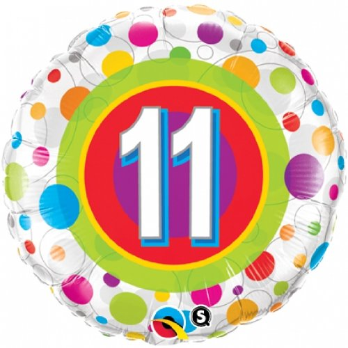 Age 11 Colourful Dots Foil Balloon by Qualatex