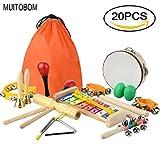 MUITOBOM 20 Stück Kinder Musikinstrumente & Baby Musikinstrumente Set - Percussion Spielzeug Fun Toddlers Spielzeug aus Holz Xylophon Glockenspiel Spielzeug Rhythmus Band Set