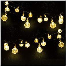 LED Solar Lichterkette Kristall Kugeln 4.5 Meter 30er Warmweiß, Mr.Twinklelight Außerlichterkette Deko für Garten, Bäume, Terrasse, Weihnachten, Hochzeiten, Partys, Innen, Der abstand zwischen zwei leuchten 10 CM. [Energieklasse A++]