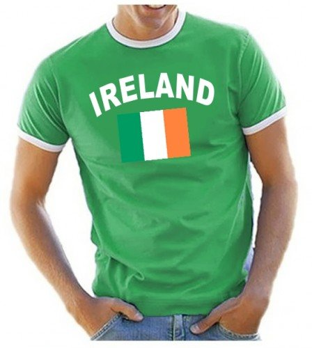 Coole-Fun-T-Shirts Herren T-Shirt Irland Ringer, grün, S, 10833_Irland_HERI_GR.S