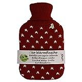 UMOI Öko Wärmflasche 2 Liter mit hochwertigem Strickbezug Sternen Muster