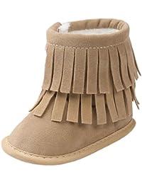 Malloom Bebé mantenga caliente borlas de doble cubierta suela blanda nieve Botas de cuna suave zapatos niña
