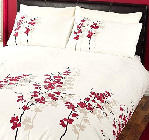 Octavia–Rot, die Blumenmuster Baumwolle Mischung Bettbezug/Quilt Set mit passenden Kissenbezügen, Polycotton, Rot, Kingsize