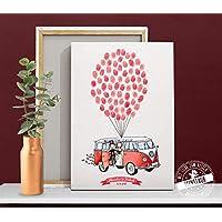 Weddingtree VW Bulli Bus auf Papier oder Leinwand Fingerabdruck Gästebuch Hochzeit Fingerabdrücke PERSONALISIERBAR verschiedene Größen