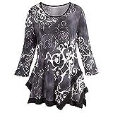 iYmitz Women's O-Neck Print Color Slim Long Sleeve Blouse Shirt Pullover Irregular Hem Tops