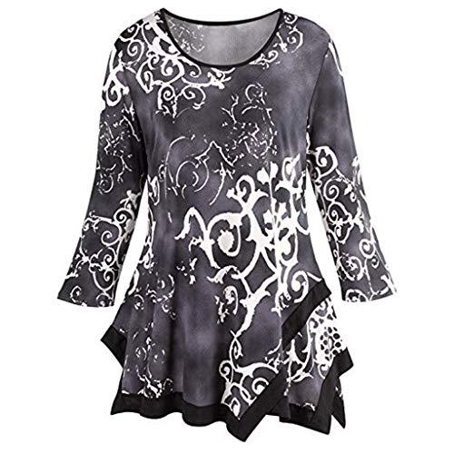 (iYmitz Women's O-Neck Print Color Slim Long Sleeve Blouse Shirt Pullover Irregular Hem Tops)