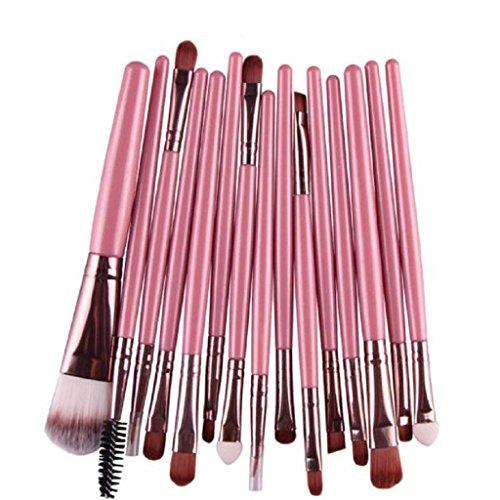 Internet 15 pcs/séries ombre à paupières Fondation sourcils lèvres pinceau maquillage pinceaux outil rose