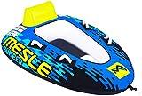 MESLE Tube Bumper, Towable für 1 bis 2 Personen, Inflatable Fun-Tube Multi-Rider Cockpit-Tube, 183 x 137 cm, blau-Lime-weiß, Kinder Erwachsene, aufblasbar ziehbar, Boot Jet-Ski Yacht