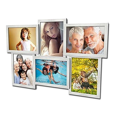 604 Fotogalerie für 6 Fotos 13x18 cm - 3D Optik - Bilderrahmen Bildergalerie Fotocollage Rahmenfarbe Silber