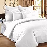 #10: Duvet Cover - Extra King Size- Premium Cotton - Striped Duvet / Quilt / Comforter cover with zipper by Blue Eye- (100 x 108 inches – White)