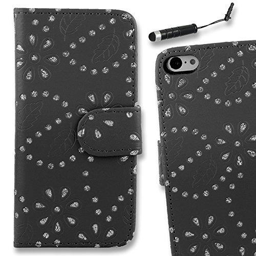 Connect Zone iPhone 5/5G/5S/SE haute qualité PU étui rabat portefeuille cuir Pochette + Protège Écran + Chiffon De Polissage Et Stylet - Noir Diamant Brillant Porte-feuille, iPhone 5/5G/5S/SE