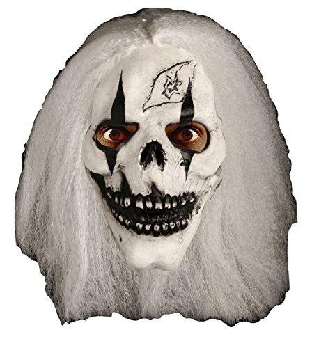 Damen Herren Halloween Klaue Hörner Sfx Kit Handschuhe Lack Maske Kap Makeup Latex Blut Perücke Zubehör (Schädel mit Haaren)