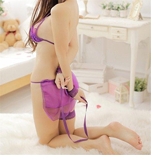 YALL-Wäschespitze hohl Halfter lila Anzug Purple