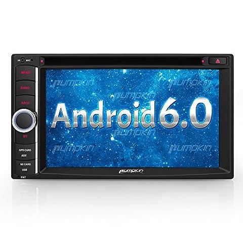 Autoradio Bluetooth Android 6.0 Ecran Tactile 6.2 Pouce 2 Din lecteur DVD de Voiture Supporte Commande au Volant GPS 3G Wifi USB SD OBD2 DAB