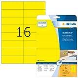 Herma 4551 Farbetiketten ablösbar, (105 x 37 mm auf DIN A4 Papier matt, selbstklebend) 320 Stück auf 20 Blatt bedruckbar, Gelb