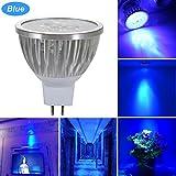 GreenSun LED Lighting MR16 GU5,3 LED Lampe, 3W Reflektorlampe 240LM, Ersetzt 35 Watt Glühlampen, 12V LED Leuchtmittel Birnen Spotstrahler, 120° Abstrahwinkel, Blau-Licht