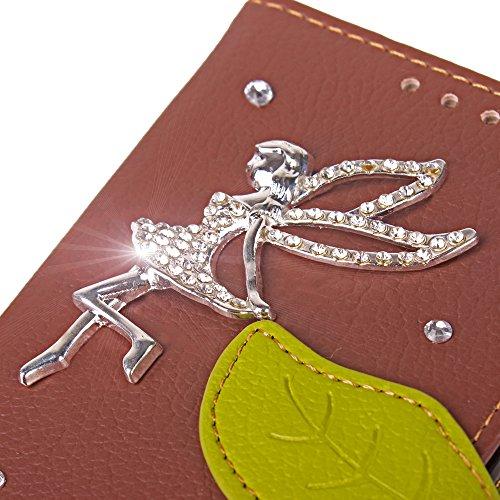 Portafoglio Case per iPhone 5 5S,Diamante Custodia in Pelle per iPhone SE,Leeook Luxury Bling DIY Fatto a Mano Glitter 3D PU Pelle Novit¨¤ Retro Foglia Design Fata Ragazza Modello Strass Brillante Bli Fata Ragazza Marrone