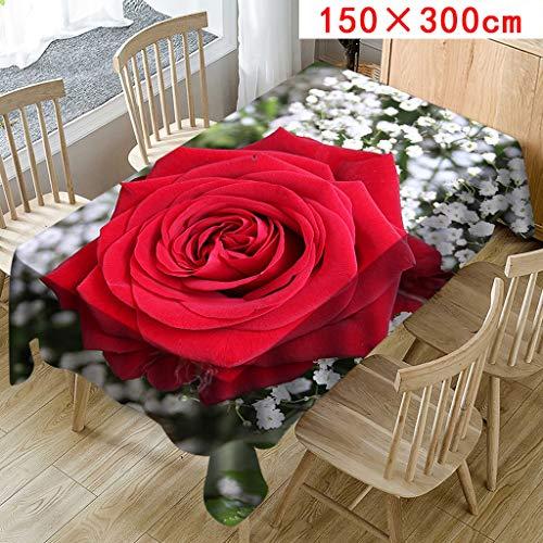 MOIKA Floral Imprimé Nappe pour Table rectangulaire carrée/Nappes Anti Taches en Lin Nappe Décorative (A,150 * 300)