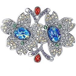 Epinki Plateada Broche de Mujer Flores Broche Pines Broches Pin Plata con Azul óxido de Circonio