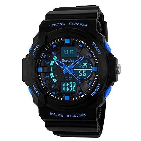 SunJas Digital Armbanduhr LED Sportuhr stoppuhr wecker wasserdicht Quaruhr Alarm in blau (Sportuhr Herren Blau)