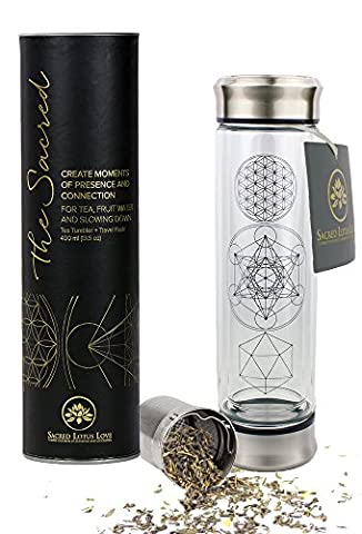 The Sacred Glass Tea Tumbler with Infuser and Strainer for Loose Leaf or Ice Tea. Cold Brew Coffee or Fruit Water Maker. 410ml Travel Bottle and Perfect Gift. Soulful Design. Beautifully Packaged +