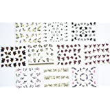 10pcs/package nail stickers decals multi mix designs including glitter butterflies/glitter flowers/black flowers/colorful flowers/heart/black and white flowers with gold/french semi-paste nail decals/etc.