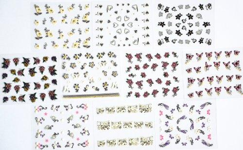 10pcs/package ongles autocollants décalques conceptions multi-mix incluant paillettes papillons / fleurs / fleurs de paillettes noires / fleurs colorées / Coeur / fleurs noires et blanches avec de l'or / français décalques / etc ongles semi-pâte.