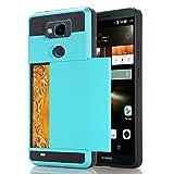 Alfort Coque Huawei Mate 7, Housse Huawei Mate 7, Etui de Protection Glissement des Cartes Folio en PC Haute Qualité Protection Totale pour Huawei Mate 7 6.0' Smartphone (Bleu Clair)