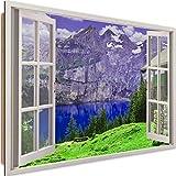Stampa Arte Finestra con Vista Immagine da Parete Montagne Multicolore 90x60 cm