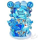 Windeltorte / Pamperstorte >> Babygeschenk für Zwillinge in schönem Blauton // Geschenk zur Geburt, Taufe, Babyparty // originelles und praktisches Geschenk für Babys