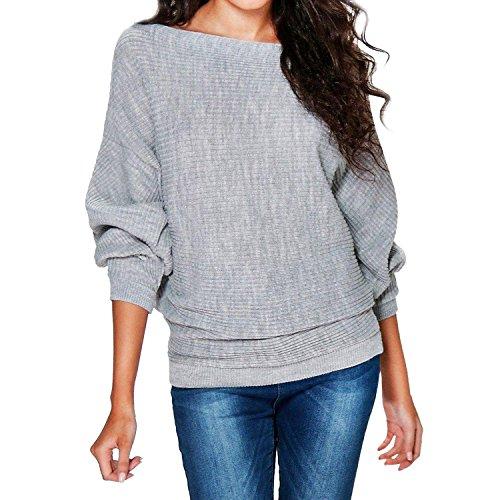 SUNNOW Damen Herbst/Winter O-Ansatz lose Fledermaus Drop Ärmels Lose Stricken Pullover Knit Sweater (XL, Grau) (Weißen Bluse Weichen, Stricken)