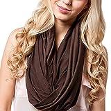 iShine Damen Loop-Schal Fashion Schlauchschal Tubular Schal Unisex Halstuch für Frauen Männer Schal Monochrome Warm für Winter Herbst Frühling Kaffeebraun