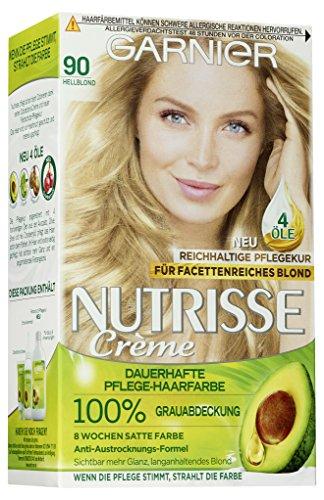 Garnier Nutrisse Creme Coloration Hellblond 90 / Färbung für Haare für permanente Haarfarbe (mit 3 nährenden Ölen) - 1 Stück