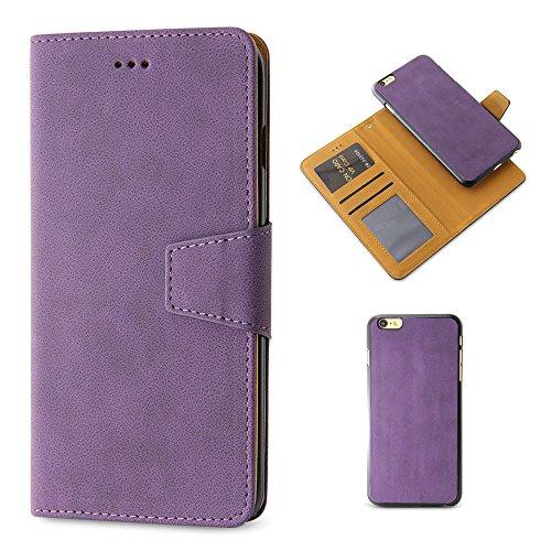 BELK Housse/6S (11,9cm) -2en 1Rétro Portefeuille à rabat en daim avec magnétique détachable Coque rigide + Film protecteur d'écran Marron - 6S Brown Violet - 6S purple