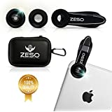 Iphone Lens 3 In 1 Camera Lens Kit By Zeso | Professional 230 Fisheye, Macro & Wide Angle Phone Lenses | For IPhone, Samsung Galaxy, Android, IPads, Tablets | Universal Phone Clip & Hard Storage Case