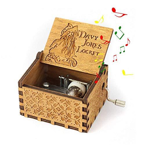 Leegoal Pirates of The Caribbean Music Box, Hand Kurbel antike Geschnitzte hölzerne Musical-Boxen Geburtstags Weihnachten -