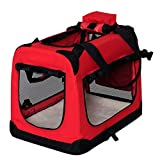 dibea TB10054 hond transportbox hond tas opvouwbare autobox kleine dieren tas (grootte en kleur naar keuze), rood